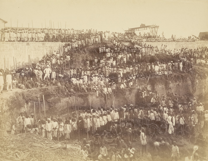 Persons engaged making dock [Victoria Dock construction, Bombay].